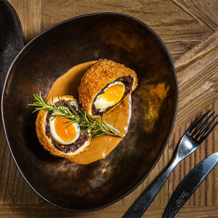 Scotch egg at the Market Kitchen in the Evesham Restaurant