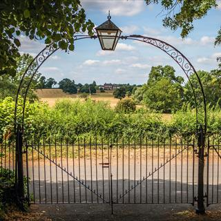 Gate overlooking countryside scene